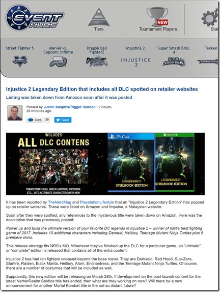 Injustice 2 Legendary Edition that includes all DLC spotted on retailer websites